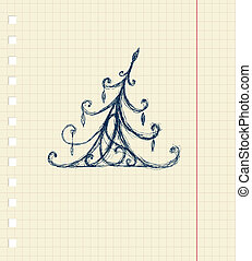 Sketch of christmas pine ornament on notebook sheet