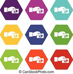 Hand with parking ticket icon set color hexahedron - Hand...