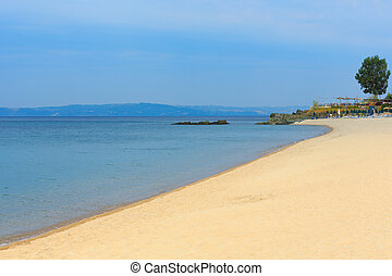 Summer morning beach (Chalkidiki, Greece). - Summer morning...