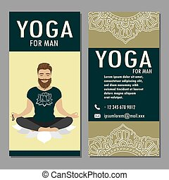 Template of yoga poster, flyer, banner. - Yoga for man.Male...