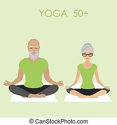 yoga, rilassante, coppia, atteggiarsi, cittadino, anziano