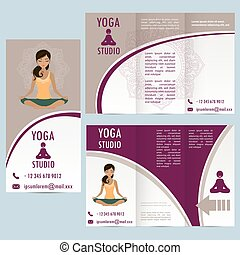 cards for yoga studio with paisley ornament and woman in...