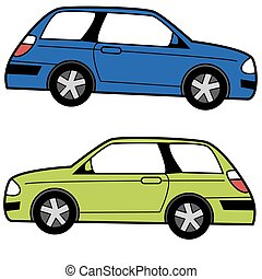 Compact Cartoon Car - An image of a profile view Compact...