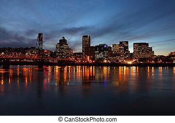 Portland OR., at dusk. - Portland Oregon at dusk a cold...