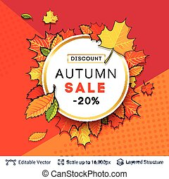 Autumn sale background template. - Bright pattern and text...