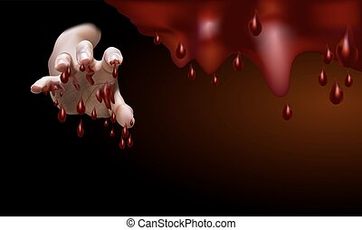 Male hand,full with blood, stretch out to grab something or...