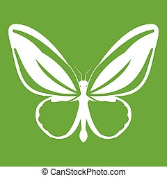 Butterfly icon green - Butterfly icon white isolated on...