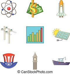 Investment in high technology icons set, cartoon style -...
