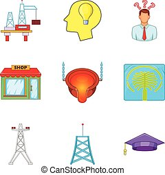 Exhaustion icons set, cartoon style - Exhaustion icons set....