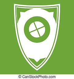 Shield icon green - Shield icon white isolated on green...