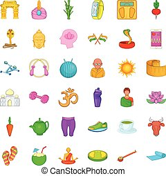 Lotus icons set, cartoon style - Lotus icons set. Cartoon...