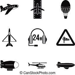 Supersonic aircraft icons set, simple style - Supersonic...