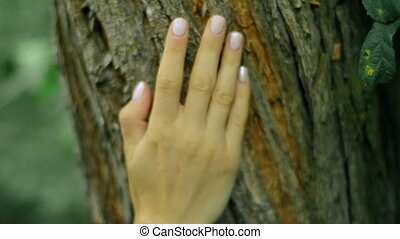 girl with beautiful manicure touch tree bark in the forest -...