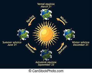 Cycle of Earth seasons of the year. Autumnal and vernal...