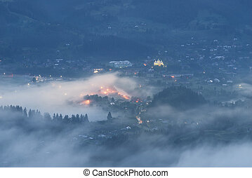Verkhovyna at night after a rain - night in the mountains is...
