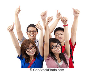 Happy students showing thumbs up and isolated on white background
