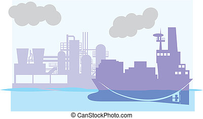 Cargo ship and big factory color vector illustration