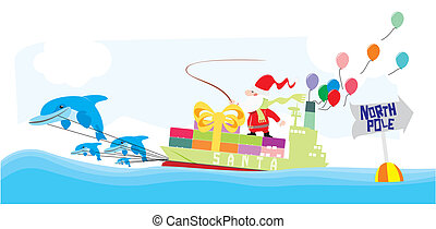 Santa riding a container ship pulled by dolphins color...