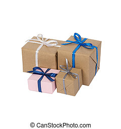 Christmas style rustic brown paper gift tied up with strings. Isolated white background. Stacking parcels box with kraft paper