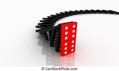 lined up dominoes falling Red stop others