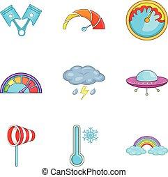 Bad weather icons set, cartoon style - Bad weather icons...