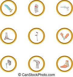 Orthopedic icons set, cartoon style - Orthopedic icons set....