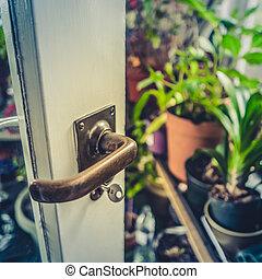 Summer Conservatory Door - Retro Style Detail Of A Door...