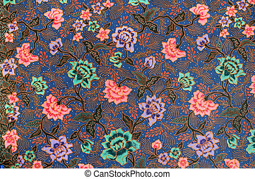 Blue Batik with bright green, lavender, and pink flowers