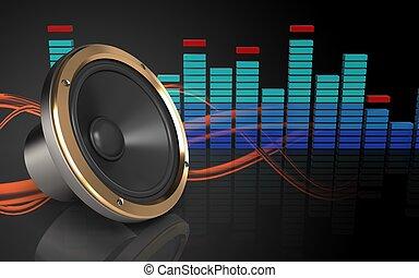 3d loud speaker spectrum - 3d illustration of loud speaker...
