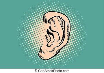 Male human ear Pop art retro - Male human ear. Pop art retro...