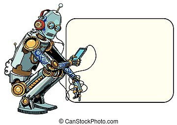 robot sits with the phone. Smartphone and new technologies....
