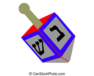 dreidel illustration isolated on white - dreidel...