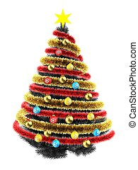 3d tinsel - 3d illustration of gray Christmas tree over...