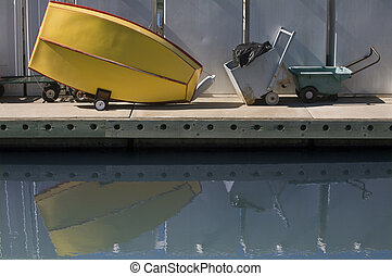 Stored Row boat - Stored row boat with reflection
