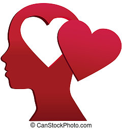 Valentine Girl Heart Head love mind space - A girl with...