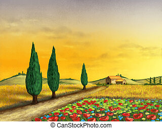 Sunset landscape - Beautiful farmland at sunset Original...
