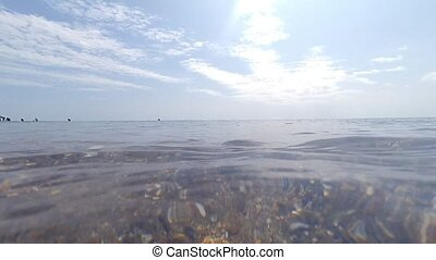Sea wave splashing the camera or spectator directly.
