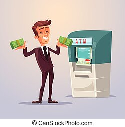 Businessman office worker character withdrawing money from...
