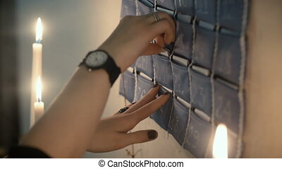 Close-up view of woman hands taking out the card with task....