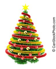 3d tinsel - 3d illustration of green Christmas tree over...