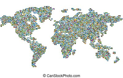 World map made of nature photos