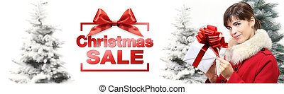 christmas sale banner woman with gift box on white background with snowy trees