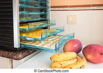 Drying fruits in the drying machine - Fruits being...