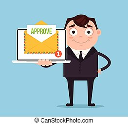 Happy smiling businessman office worker man character receive approve letter document envelope by email online web site. Vector flat cartoon illustration