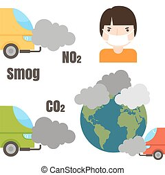 Ecology infographics set with air water and soil pollution...