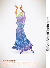 Background with oriental dancer transition colors vector