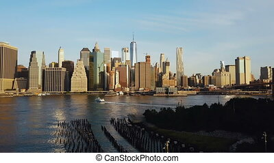 Drone flying from the Brooklyn, view on Manhattan in New...
