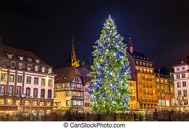 Christmas tree at the famous Market in Strasbourg, France -...