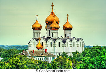 View of the Assumption Cathedral in Yaroslavl, Russia - View...