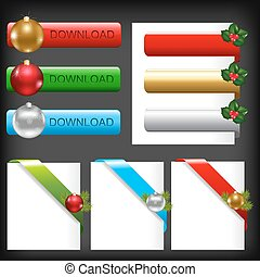 Christmas Web Elements, Isolated On Black Background, Vector...